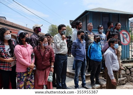Crowd watch ongoing rescue work every day on collapsed Dharahara Tower, historical landmark in Kathmandu, 5 days after Earthquake hit Kathmandu 25 April 2015. Photo taken 30-Apr-2015