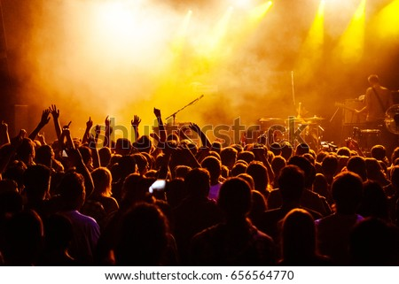 crowd with raised nands during concert