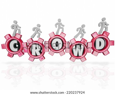 Crowd word in gears and people walking forward to help crowdfund or crowdsource your new project - stock photo