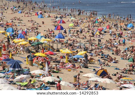 Crowded beach in summer in Holland