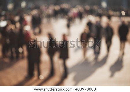 Crowded blurred street in Dresden, Germany. Blurred people background. - stock photo