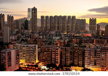 Crowded Hong Kong with a lot of high density building.