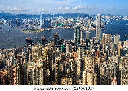 Crowded Tall Buildings In Hong Kong City