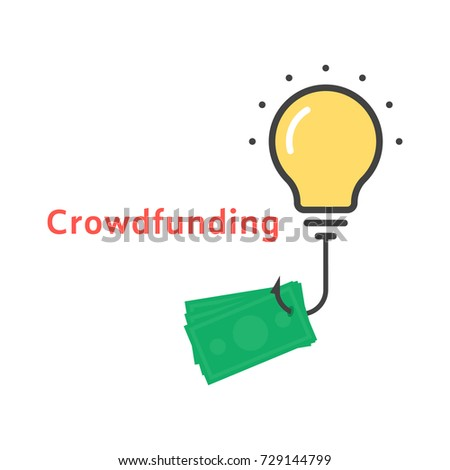 crowdfunding icon outline bulb stock illustration 729144799