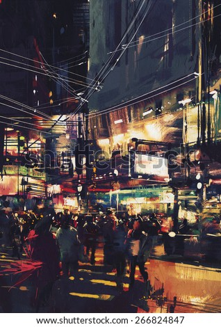 crowds of people at a busy crossing in the night with colorful lights,digital painting