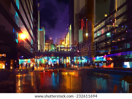 crowds of people at a busy crossing in the night with neon lights,digital painting - stock photo