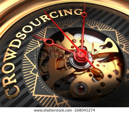 Crowdsourcing on Black-Golden Watch Face with Closeup View of Watch Mechanism. - stock photo