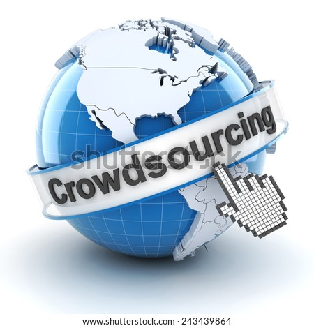 Crowdsourcing symbol with globe and cursor, 3d render, white background - stock photo