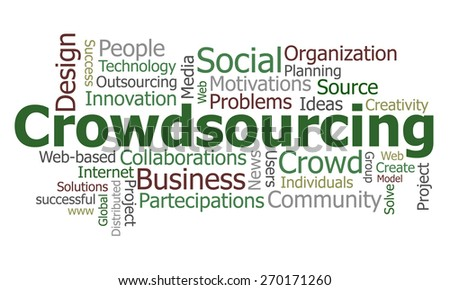 Crowdsourcing word cloud - stock photo