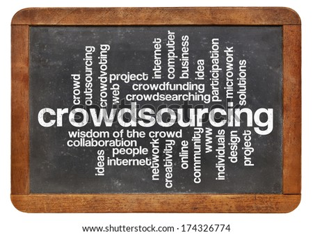 crowdsourcing word cloud on a  vintage slate blackboard isolated on white - stock photo