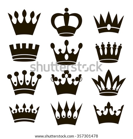 Crown icons isolated on white background. Raster.