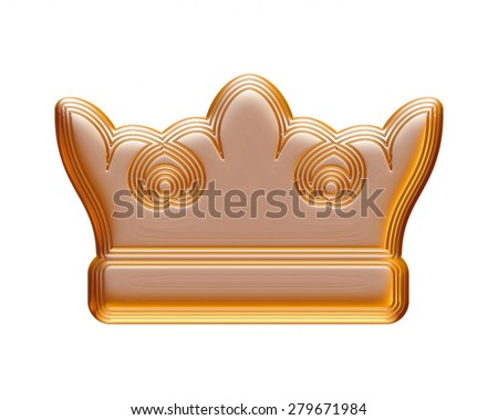 crown in gold on isolated white background. - stock photo