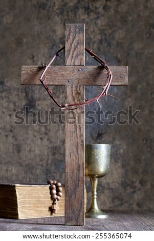 Crown of thorns and cross abstract religion concept - stock photo