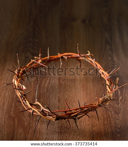 Crown of thorns on wooden background - stock photo