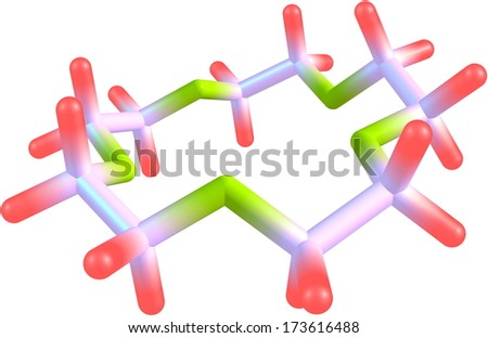 Crown-5 or Pentaoxacyclopentadecane molecular structure isolated on white.