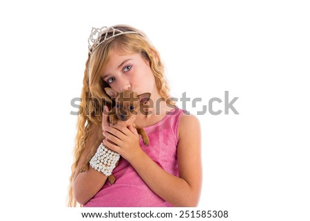 crown princess blond girl with puppy chihuahua dog portrait happy kissing pet - stock photo