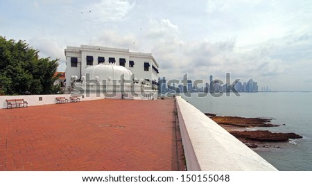 Crown shaped building above the Plaza de Francia, Casco Viejo, Panama City - stock photo