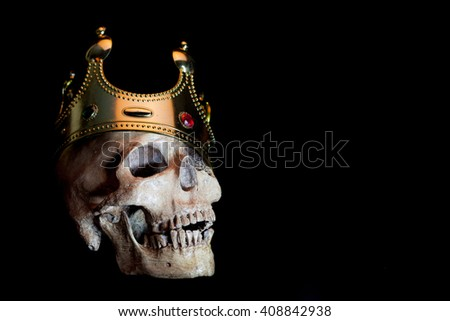 Crown skull on a black background