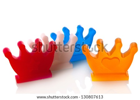 crowns in the color red, white, blue and orange, symbol of the dutch coronation on 30th of april 2013
