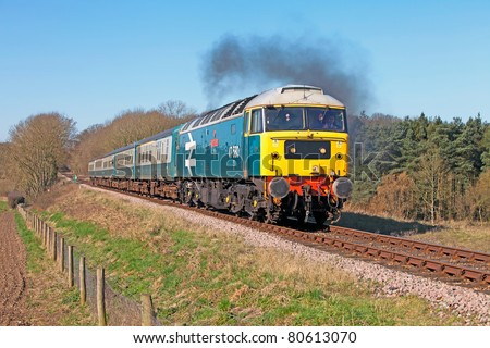 CROWNTHORPE, UNITED KINGDOM - MARCH 19: Preserved diesel class 47 locomotive on March 19, 2011 at Crownthorpe. The UK preserved railway industry earned £81M in 2009, and is set to rise further in 2011 - stock photo