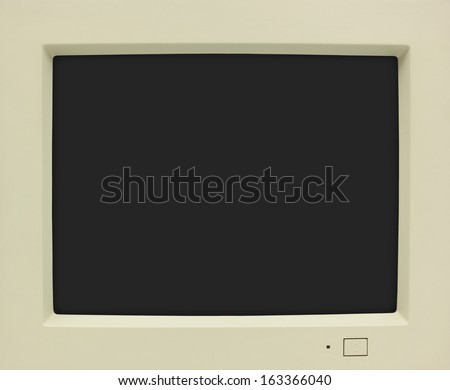 CRT monitor frame with black screen for copy - stock photo