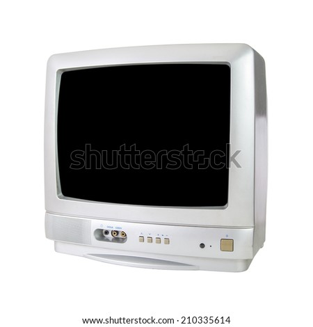 CRT TV isolated on white background - stock photo
