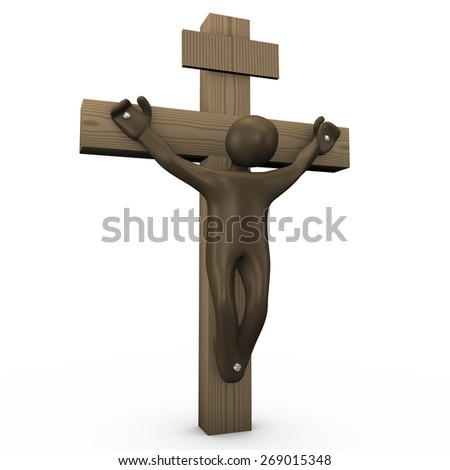 Crucified cartoon character, 3D rendering