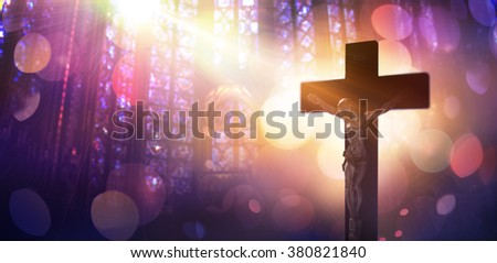 Crucified Christ - Symbol Of Catholic Faith  - stock photo