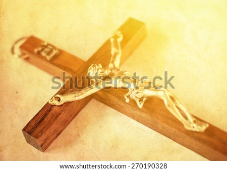 Crucified cross with Jesus Christ vintage background - stock photo