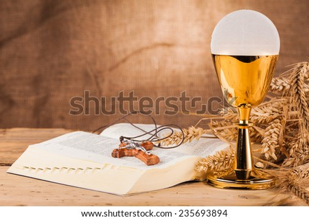 crucifix  and holy communion - stock photo