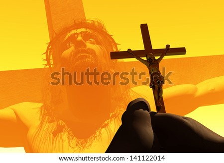 Crucifix in hand on a background of Jesus Christ. - stock photo