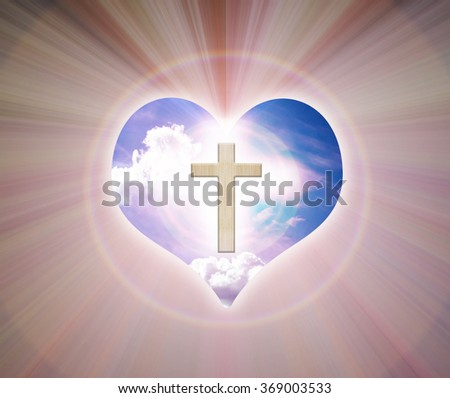 Crucifix or cross and light of god  on heart  freedom sky background