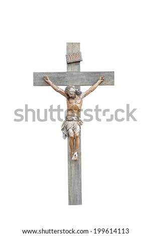 Crucifix with Figure of Jesus Isolated on a White Background