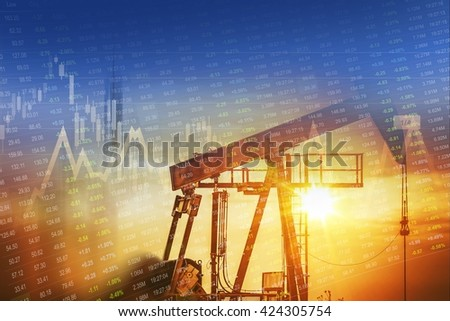 Crude Oil and Energy Companies Stock Investment Concept Graphic.  - stock photo