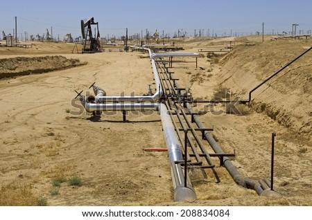 Crude oil extraction facility in an area around eastern Sacramento California - stock photo