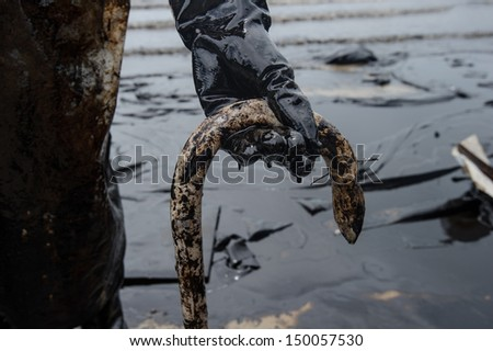 crude oil on oil spill accident on Ao Prao Beach at Samet island on July 31,2013 in Rayong,Thailand - stock photo