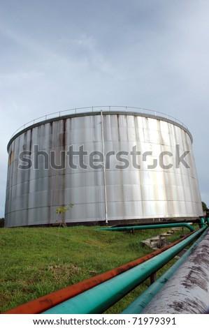 crude oil storage tank - stock photo