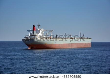 crude oil tanker at sea - stock photo