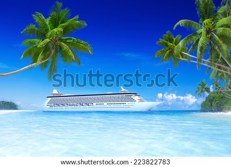 Cruise and beach with palm tree.