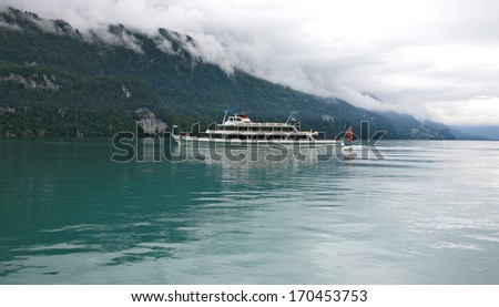 Cruise by touristic ship on Lake Brienz in Switzerland