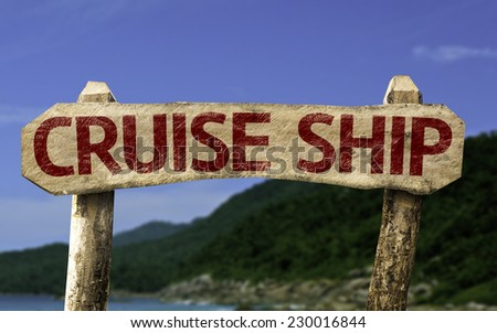 Cruise Chip sign with a beach on background - stock photo