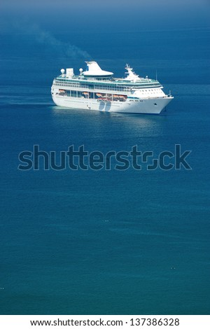 cruise in Patong tropical beach from aerial view,  Phuket. Thailand. - stock photo