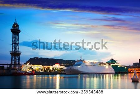 cruise liner at Port Vell in sundown. Barcelona, Spain - stock photo