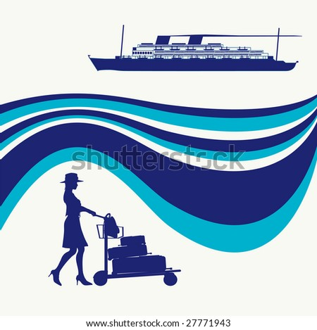Cruise Liner Bitmap Background - stock photo