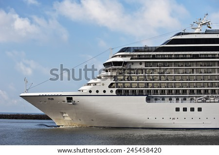 Cruise liner in port - stock photo