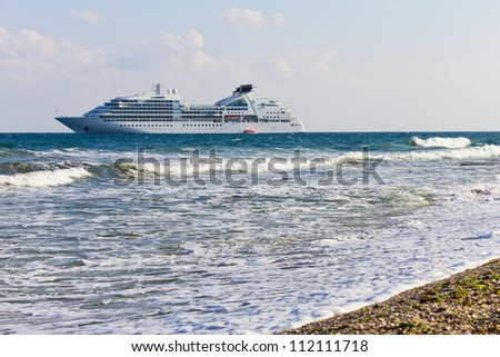 Cruise liner near to the beach in Nessebar Bulgaria