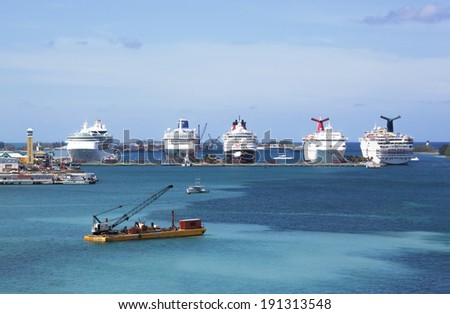 Cruise liners docked in Nassau, the most popular cruise destination in Caribbean (The Bahamas). - stock photo