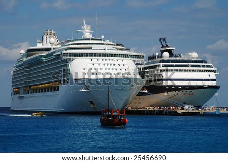 Cruise liners just arrived to Cozumel island, Mexico, one of the most popular destinations in Caribbean. - stock photo