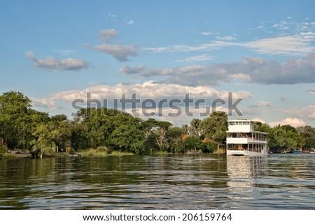 Cruise on river Zambeze, Zambia - stock photo