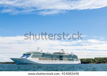 Cruise Ship Anchored off the coast of Bar Harbor, Maine - stock photo